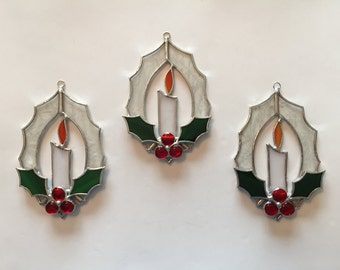 Handmade Stained Glass Christmas Candle Wreath suncatcher
