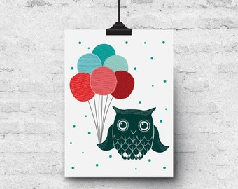 Owl & Balloons, Colorful Illustration, Birthday - Greeting Card