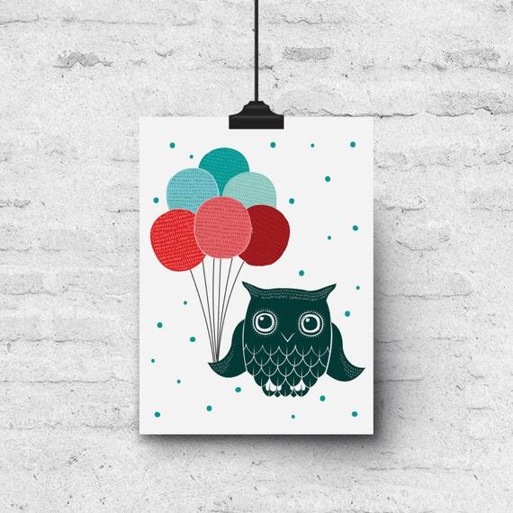 Owl & Balloons, Colorful Illustration, Birthday - Greeting Card