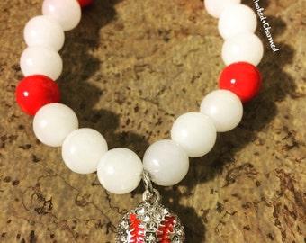 Baseball Bracelet with Rhinestone baseball | For your Favorite Player or Sport