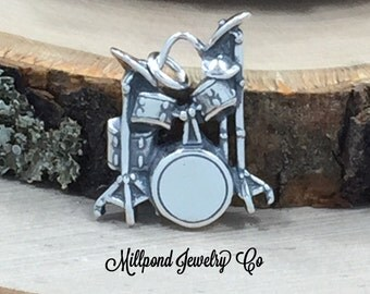Drums Charm, Band Charm, Music Charm, Music Lover, Sterling Silver Charm, PS3182