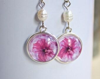 Pink Ranunculus Flower Floral Earrings Silver Finish Pierced Ear Dangle Earrings Freshwater Pearl