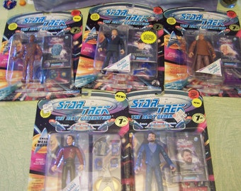 Five Star Trek The Next Generation Playmates figurines in original box space caps pogs Riker Wesley Crusher Soong Picard 1994