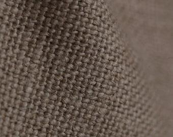 Tissu tapissier 100% pur lin coloris marron expresso