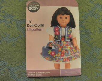 "18"" DOLL OUTFIT Skirt, Vest,  Blouse, Top, Bsg..cut  Simplicity Sewing Pattern"