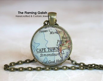 CAPE TOWN Map Pendant • Vintage Cape Town • Old Cape Town Map • South Africa • Map of Cape Town • Gift Under 20 • Made in Australia (P0477)