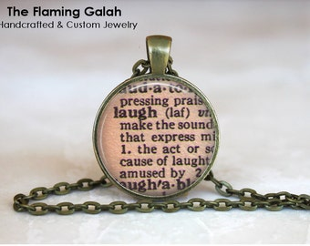Definition LAUGH Pendant. Vintage Dictionary Necklace. Long Pendant Necklace. Key Ring. Quote Pendant. Gift Under 20. Gift Australia (P1084)