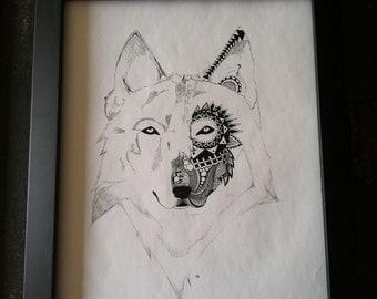 Wolf Zentangle, Wolf Print, Wolf Wall Art, Wolf Mandala