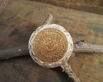 vintage aztec rex sterling silver 925 pendant brooch