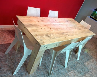 Dining table industrial style with handmade wooden pallet