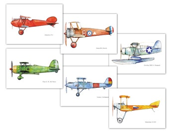 Airplane decor nursery  Vintage airplane prints watercolor Set 6 prints Retro military aircraft poster Boy's nursery wall art