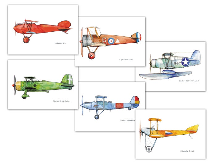 Airplane decor nursery Vintage airplane prints watercolor Set 6 prints Retro military aircraft poster Boy's nursery wall art