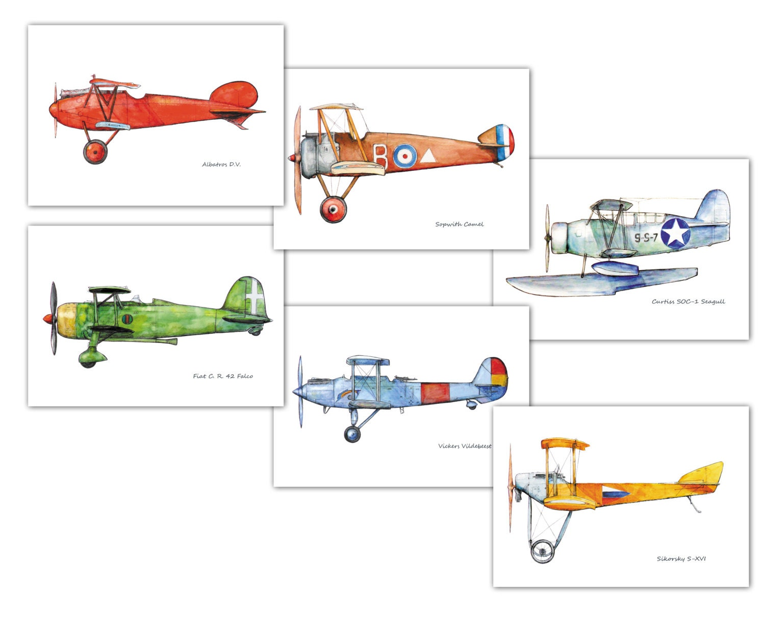 Vintage airplane prints the image kid for Chambre 8x10
