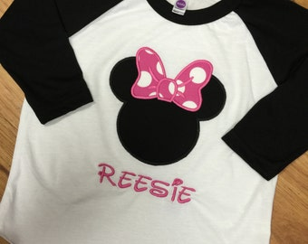 Minnie Mouse Raglans. Any color available.