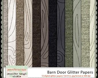 Instant Download - Set of 12 digital papers - Barn Door Glitter Papers