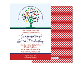 Grandparents Day, Grand Friends Day, Family Tree, Jewish Preschool, Hebrew, Invitation, digital file or professional printing available