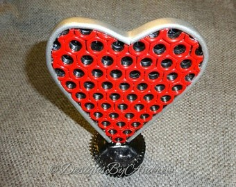 Upcycled Hex Nut Heart Sculpture