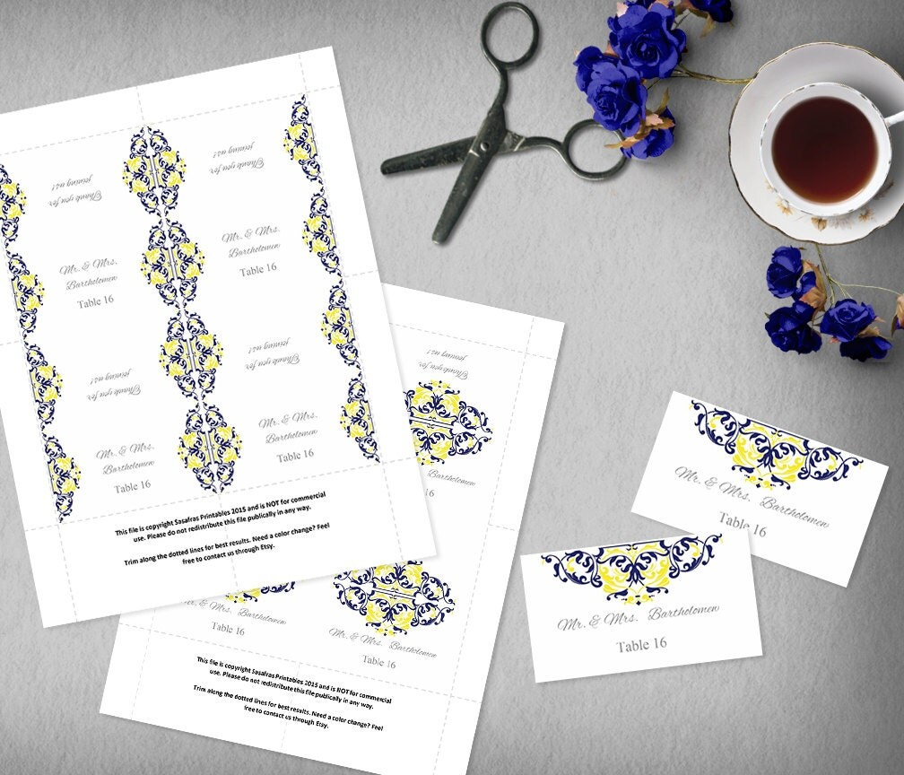 Blue and Yellow Food Label Template, Printable Name Card Template ...