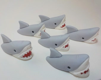 Edible Shark Out of Water Fondant Cupcake Toppers Qty 6  Gray Great White 1st Birthday Boy