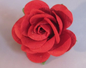 Paper Rose Flower Lapel Pin - Red - Everyday / Weddings / Proms