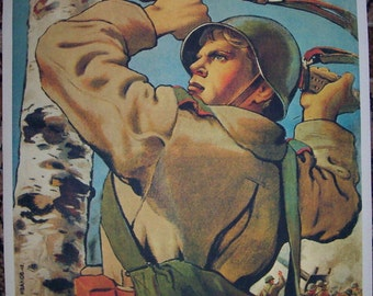 "WW2 Russian Soviet ""To the West"" propaganda poster"