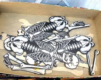 Vintage Retro Estate Box of Beistle Halloween Skeleton Bones Complete Skeletons Party Decorations