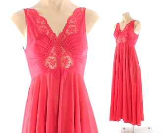 Vintage 80s OLGA Bodysilk Nightgown 9687 Full Sweep Red Nylon Lace Lingerie Small S