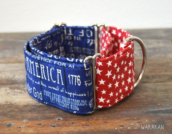Martingale dog collar model Blue Freedom. Adjustable and handmade with 100% cotton fabric. 4th of July, USA flag. Wakakan