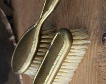 Child's Victorian era Brush Set Gilt Gold