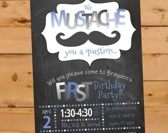 Mustache Birthday Invite, Moustache Birthday Invitation, Mustache Party, Chalkboard, First Birthday Invite, Mustache Inviation, 1st Birthday