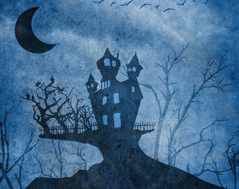 3x4 Halloween Photography Background | Blue Scary House Haunted Mansion Backdrop - FabVinyl 3x4 ft (FV9005)