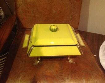 Pyrex casserole, Yellow with Green flower handle, buffet server