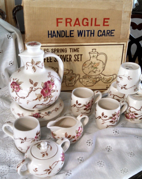 1940's Nasco Spring Time coffee server rare find 12 piece set original package cherry blossom floral pattern replacement set great condition
