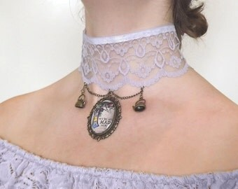 Lilac lace choker Alice in Wonderland