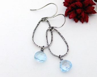 Swiss Blue Topaz Earrings, Silver Earrings, Dangle Earrings. Drop Earrings, Blue Stone Earrings