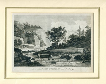 Antique Engraving - View on the River Gotteron near Friburg (Switzerland)