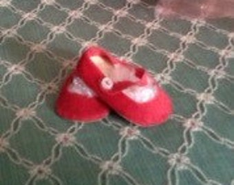 Vintage Red Velour Doll Shoes