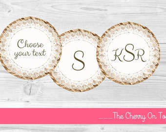 Paper Doilies-Paper Doily Tags-Doliy Cupcake Toppers-PRINTABLE-tags, labels, party circles