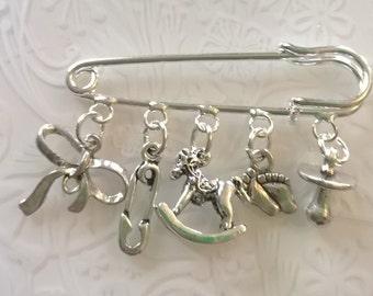 Baby kilt pin brooch~silver plated kilt pin~tibetan silver charms