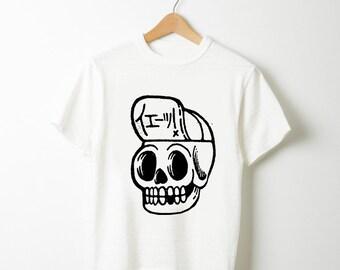 T-shirt White XL Skull Head handprint S