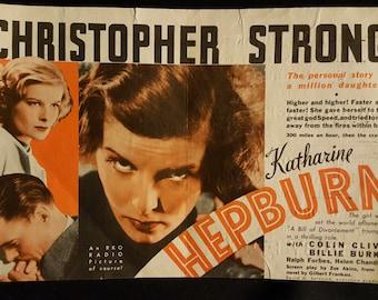 Original 1933 RARE Christopher Strong Herald Movie Poster Katharine Hepburn, Colin Clive, Vintage