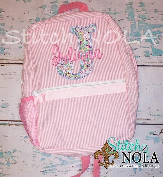 Seersucker Backpack with Letter Applique, Seersucker Diaper Bag, Seersucker School Bag, Seersucker Bag, Diaper Bag, School Bag, Book Bag