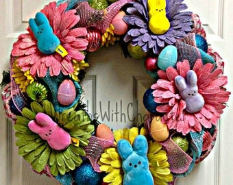 Decorative Marshmallow Peeps Easter Spring Holiday Decorative Party Wreath