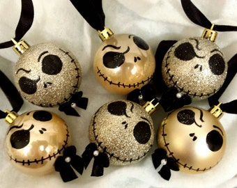 """Nightmare before Christmas tree ornaments,hand painted ornament,with hand made swirly hooks ,Jack Skellington ornaments with pearl.2"""" bulbs"""