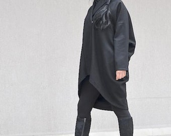 Drape design coat for women, extravagant black wool jacket, women's plus size jacket, evening wool coat, party coat, oversize women