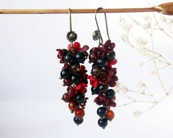 Red earrings, ruby red earringss, dark carnelian, burgundy earring, bright red flower, Vintage Ruby Blood Cherry Red Earring, marsala