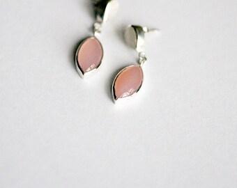 Chalcedon and rainbow moonstone earrings