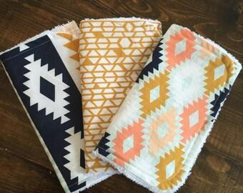 Aztec burp cloth set