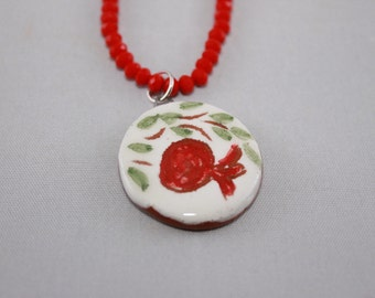 Handmade ceramic pendant with red crystal necklace