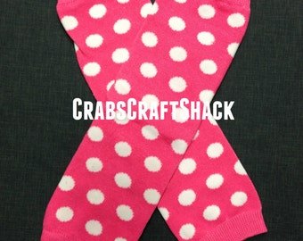 Baby Legwarmers - Dots / White on Hot Pink (1016)